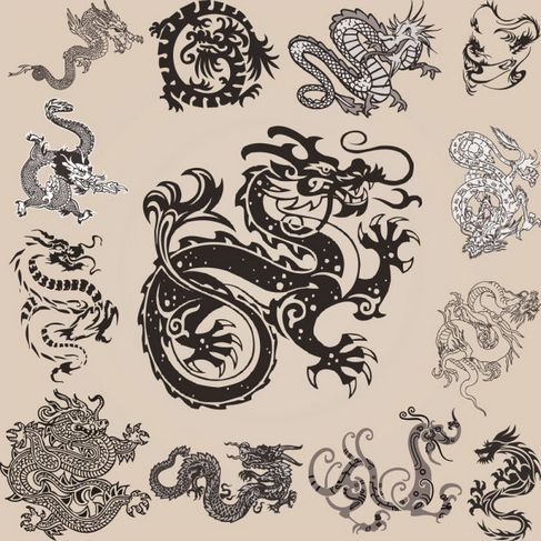 Patterns of various types of dragon element Vector 02.jpg