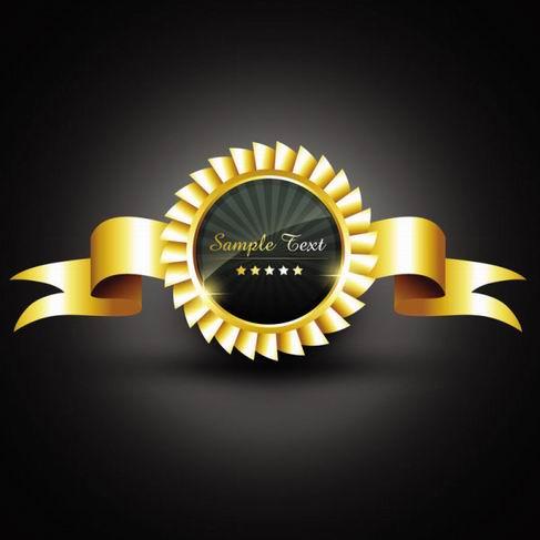 Gold badge labels vector material 05.jpg