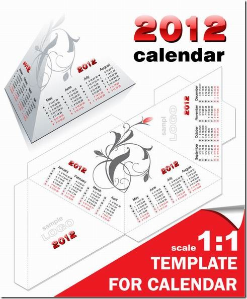 2012 wall calendar and desk calendar model vector material