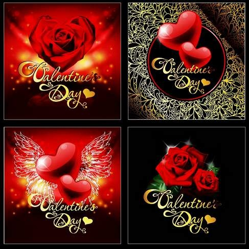 Retro Valentine's Day greeting card vector material highlights