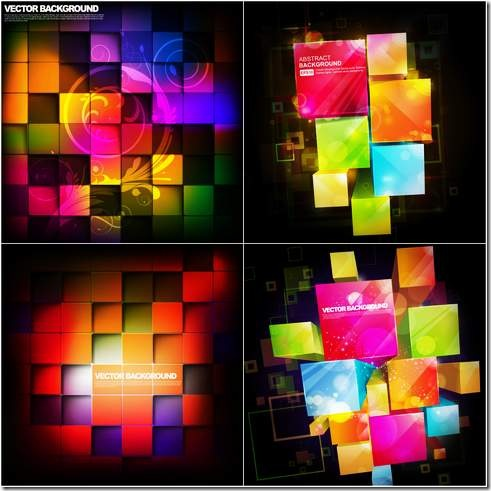 Three-dimensional box of the fashion trend vector material