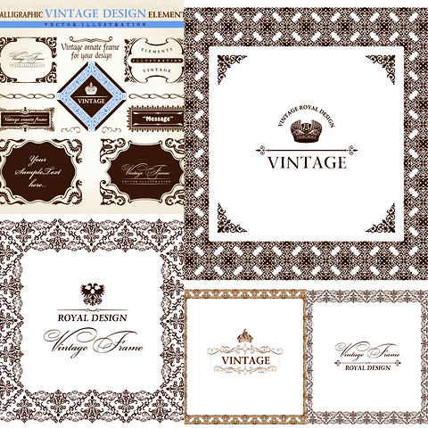 Five European lace pattern vector material