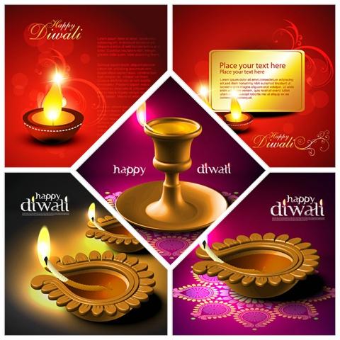 Five beautiful background Vector Diwali