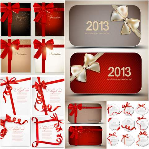 22 Red Ribbon card EPS Vector