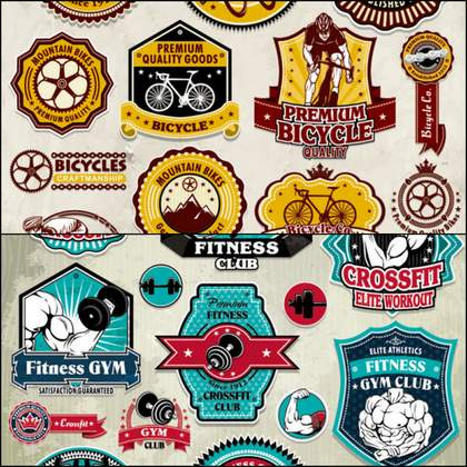 26 beautifully designed sports stickers vector material