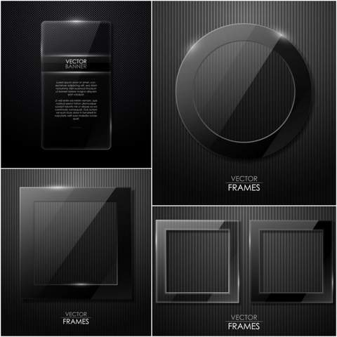 Four black cool border vector material
