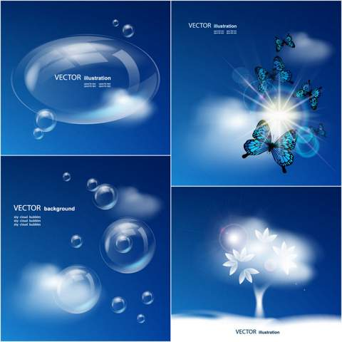 Four blue sky background vector material