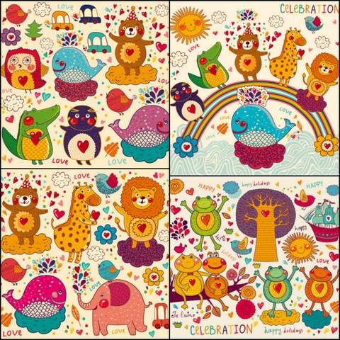 Four hand-painted cartoon pattern vector material