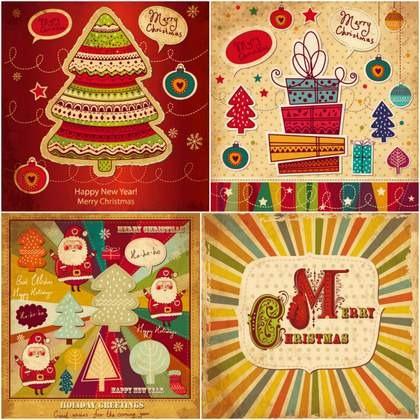 Four cute cartoon Christmas card vector material