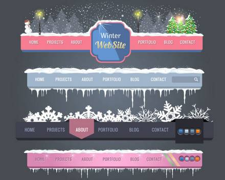A variety of exquisite Christmas navigation vector material 02