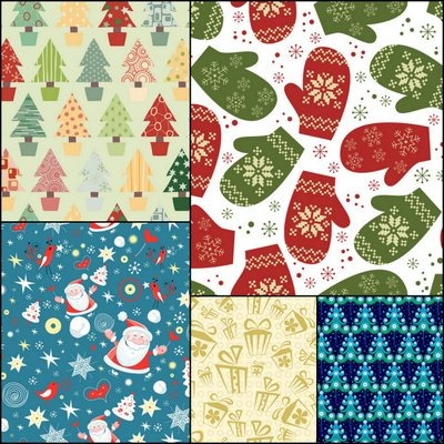 Five elegant Christmas background pattern vector material