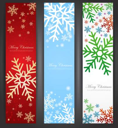 Three-beautiful-Christmas-Promotion-vertical-banner-vector-material