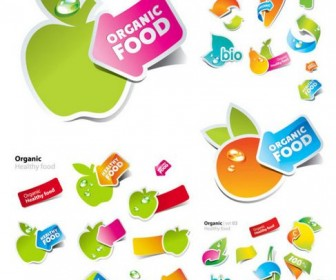 Lovely fruit and vegetable stickers Vector
