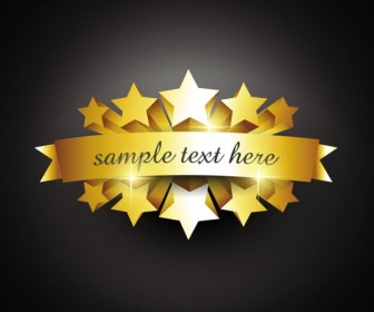 Gold badge labels vector material 07
