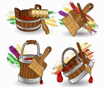 Cartoon Paint Bucket vector material