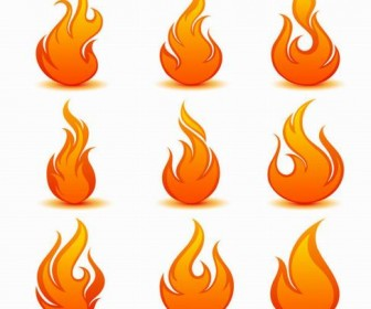 Flame icon vector material 04