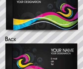 Dynamic color business card template 02 Vector