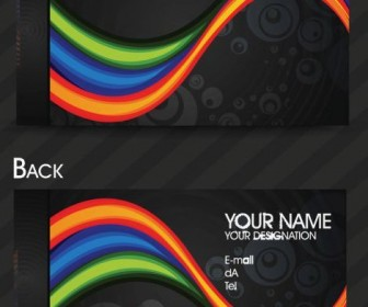 Dynamic color business card template 03 Vector