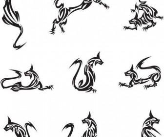 Animal tattoo patterns classic Vector 01