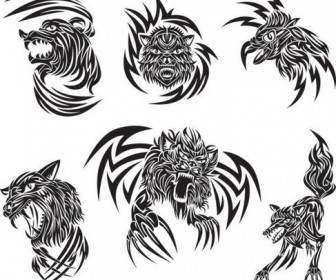 Animal tattoo patterns classic vector 03