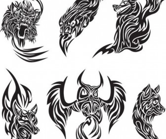 Animal tattoo patterns classic Vector 04