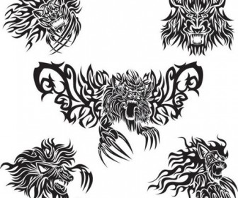 Animal tattoo patterns classic Vector 05