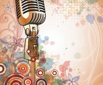 Microphone background of bright Vector 04