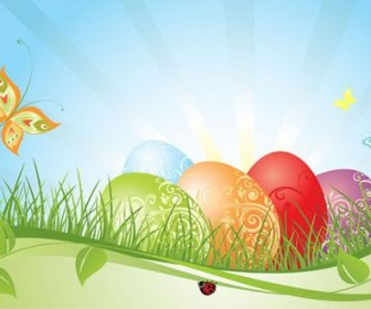 Background of colorful Easter Vector 02