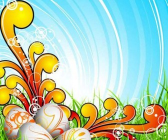 Background of colorful Easter Vector 03