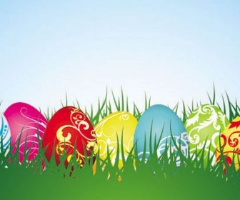 Background of colorful Easter Vector 04