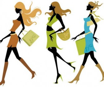 Shopping Girls Vector 01
