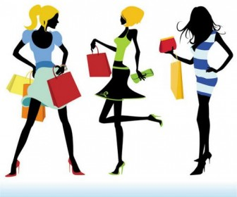 Shopping Girls Vector 02