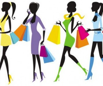 Shopping Girls Vector 03
