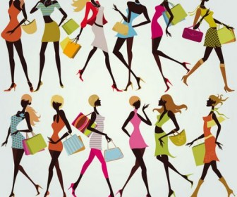 Shopping Girls Vector 05