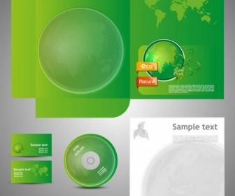 Green Card Template Vector 05