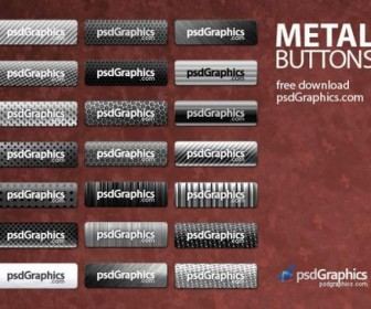 ine metal button psd layered material