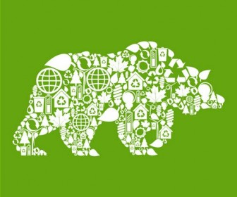 Environmental elements of the image vector collage of animal material polar bears