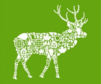 Environmental elements of the image vector collage of animal material deer
