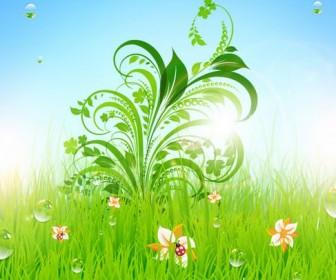 Patterns of green grass Vector 01
