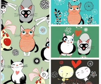 Four cartoon cat background EPS Vector