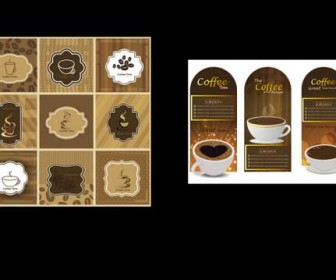 13 models of classic coffee card Vector