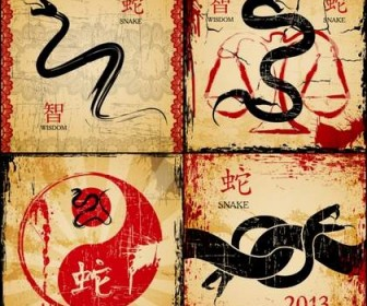 Four beautifully China Wind Year of the Snake card vector material