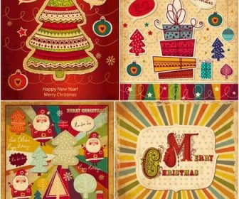 Four cute cartoon Christmas card vector material