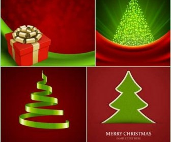 Four beautiful Christmas background Vector