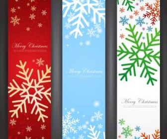 Three beautiful Christmas Promotion vertical banner vector material