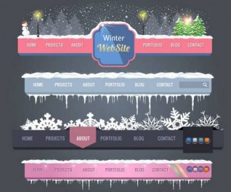 A variety of exquisite Christmas navigation vector material