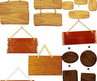 Five fine wood tag vector material