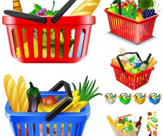 Vector of five fruits and vegetables and shopping basket