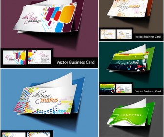 Five stylish business card template vector material