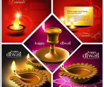 Five beautiful background Vector Diwali